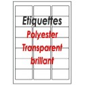 Etiquettes adhésives polyester transparent brillant